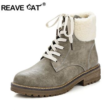 REAVE CAT Ankle boots for women Flats Ladies autumn winter boots Faux fur Lace up Round toe Big toe Punk Vintage Beige Grey A765