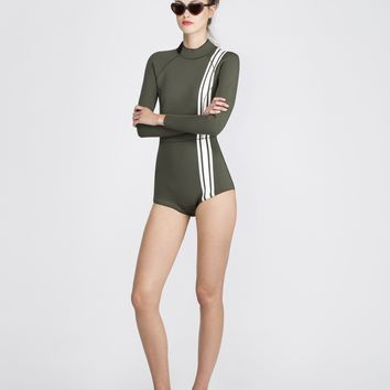 Olive Athletic Stripe Wetsuit