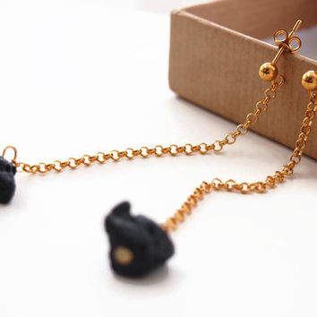 Goldplated silver chain earrings with lava, long lava earrings, large long earrings, simple stud earrings, modern womens jewelry