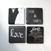Mr. Mrs. Coasters - Engagement Gift- Handmade Coasters