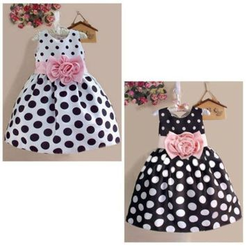 2015 Hot Baby Kids Girls Party Wedding Polka Dot Flower Gown Formal Dress 2 7y = 1946018948
