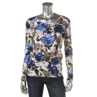 Karen Scott Womens Floral Print Scoop Neck Pullover Top