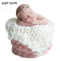50*45cm For 0-12 months Cotton Baby Chunky Knit Blanket Winter Newborn Photography Props Infant Baby Bedding Swaddle Wrap
