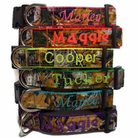 Personalized Camo Dog Collar made with Realtree Fabric