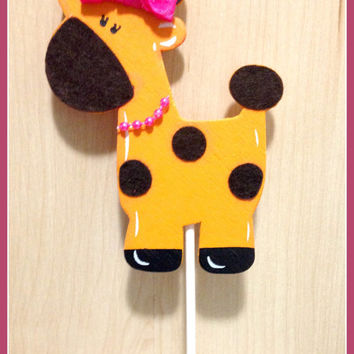 Girl Birthday Cake topper, Baby Shower Cake Toppers, Giraffe Cake topper, Safari Theme Bithday, Girl Giraffe, Girl Birthday cake decor