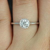 Amerie 4.50mm 14kt White Gold Round FB Moissanite and Diamonds Halo Engagement Ring (Other metals and stone options available)