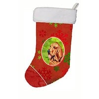 Bloodhound Red and Green Snowflakes Holiday Christmas Christmas Stocking LH9331