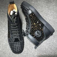 Cl Christian Louboutin Lou Spikes Style #2198 Sneakers Fashion Shoes - Best Deal Online