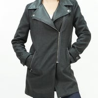 Faux leather collar wool blend coat