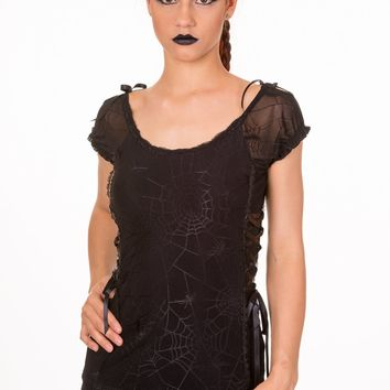 Goth Emo Spooky Spider & Spiderweb Black Mesh Lace up Top