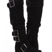 Black Faux Suede Buckle Accent Slouchy Boots