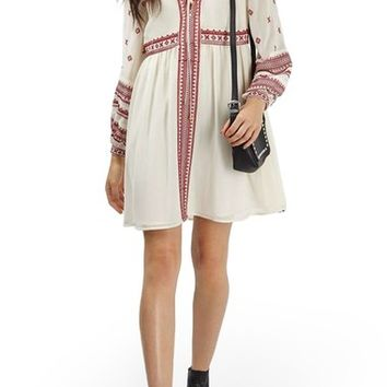 Topshop Grecian Embroidered Peasant Dress | Nordstrom