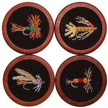 Fishing Flies Needlepoint Coasters by Smathers & Branson
