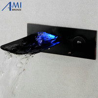 LED  wall mounted glass waterfall brass Faucet Bathroom sink basin mixer tap