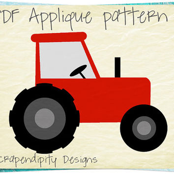 Farm Applique Pattern - Birthday Tractor Applique Template / Tractor Quilt Pattern / Red Boys Tshirt / Toddler Applique Shirt / DIY AP257-D