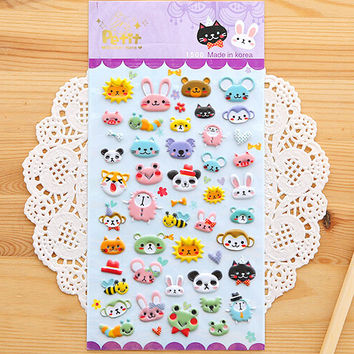 SST* 1 Sheet ' Cute Animals A ' Diary Decoration Kids Stickers 3D PVC Korea Stationery Kindergarten Baby Gift Children Toys +