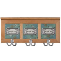 Customizable Turquoise Snowflakes Print Coat Rack