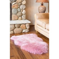 Chanasya Super Soft Faux Fur Fake Pink Sheepskin Sofa Couch Stool Casper Vanity Chair Cover Rug / Solid Shaggy Area Rugs For Living Bedroom Floor - Pink 2ftx3ft