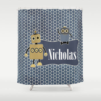 Robot Buddies Personalized Shower Curtain