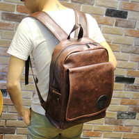 Vintage Men's Brown Laptop Bag Leather Backpack Travel