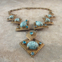 Vintage Necklace Brass Turquoise Rhinestones & Art Glass Cabochons