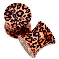 0G = 8mm Leopard Cheetah Print Acrylic Double Flare Saddle Plugs Earlets Gauges, 1 Pair