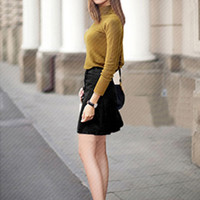 High Neck Long-Sleeve Knitted Sweater