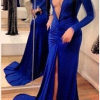 Blue V Neck Long Sleeve Bodycon Fishtail Maxi Slit Dress