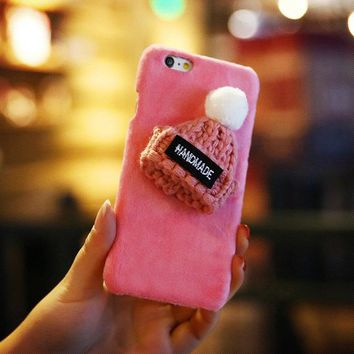 Pink Knitted Hat Fuzzy Phone Case