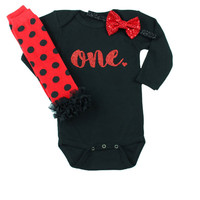 Lady Bug First Birthday Outfit With Leg Warmers and Bow on Headband