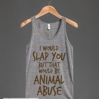 I'd Slap You (tank)-Unisex Athletic Grey Tank