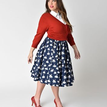 Unique Vintage Plus Size 1950s Navy Swan Lake Print High Waist Swing Skirt