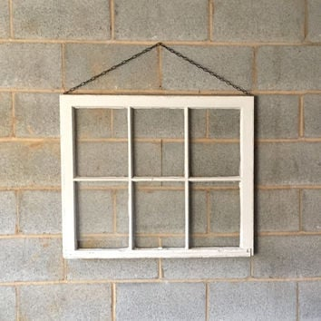 Hanging Vintage 6 Pane Window Frame w/Chain - White, 32 x 28,  Rustic, Wedding, Engagement,  Beach Decor, Photos, Pictures, Holiday