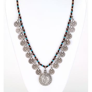 Turquoise Beaded Coin Long Necklace