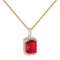 "Red Ruby CZ Pendant Solitaire 14k Gold Finish Sterling Silver Free 24"" Necklace"