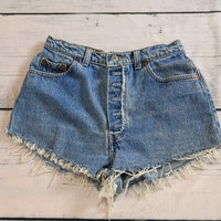 Lived In Levis 501 Distressed and Repaired Denim Jean Shorts 23 24 26 28 30 32 34 36 38 40
