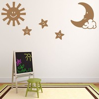 Sun, Moon and Stars Wall Decal