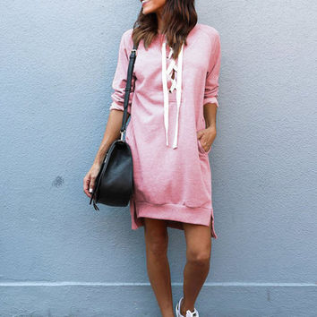 Solid V Neck Lace up Long Sweatshirt Dress - NOVASHE.com