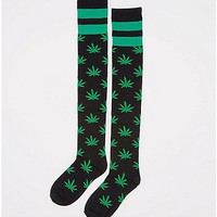 Green Athletic Stripe Leaf Print Over the Knee Socks - Spencer's