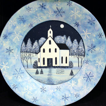 Winter Folk Art Hand Painted Plate, Primitive Country Church Winter Christmas Scene, Blue, Snowflakes, Rustic Landscape MADE TO ORDER