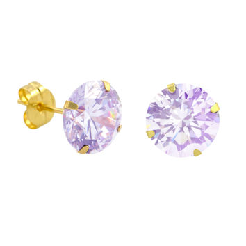 10k Yellow Gold Lavender CZ Stud Earrings Cubic Zirconia Round Prong Set