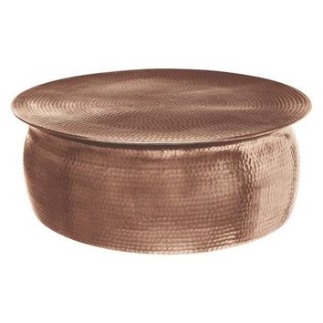 Overture Rose Gold Drum Round Coffee Table