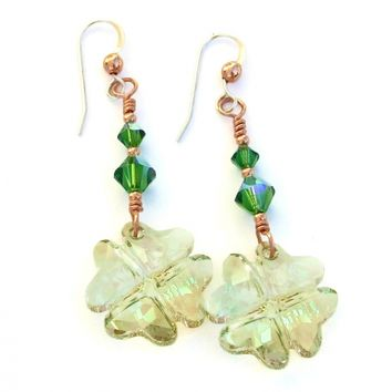 St Patricks Day Earrings, Lucky Four Leaf Clover Swarovski Jewelry