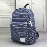 Navy Striped Canvas Backpack School Bag Travel Bag