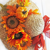 Fall Sunflower Wreath, Sun Hat Wreath For Door, Autumn Front Door Decor, Front Porch Decor, Orange Sunflowers, Orange Burlap Bow, Pumpkins