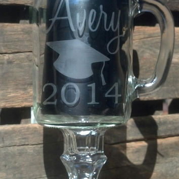 Personalized / Etched Graduation Glass / Redneck Wine Glasses / Handled Mason Jar Mug / Class of 2014