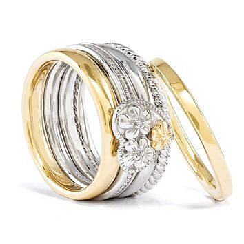 Sterling Silver & 14K Gold Plated Diamond Floral Heart Stack Ring Set