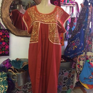 Mexican Fino Embroidered Maxi Dress Orange and Gold