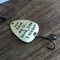 You have my Heart... Hook Line & Sinker Fishing Lure Boyfriend Gift Fishing Lure Boyfriend Gift Custom Fishing Lure Mens Gift Engraved Fishing Lure For Him I Heart You Brass