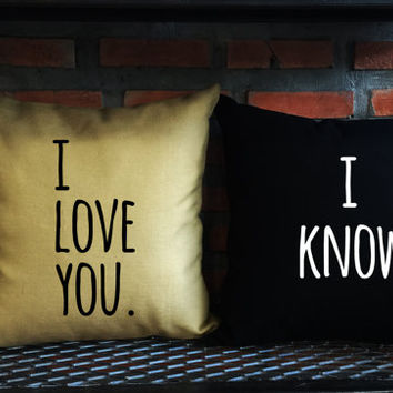 I love you I know Throw Pillow cover,love pillow cover,Mr and Mrs,Wedding gift, Family pillow cover set